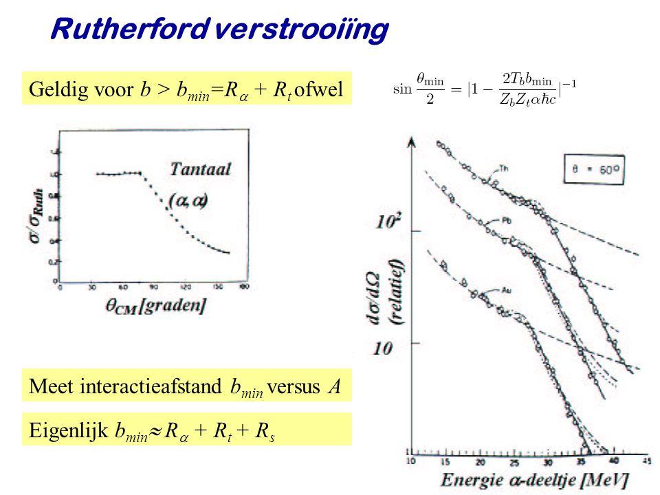 Najaar 2009Jo van den Brand10 Rutherford verstrooiïng Rutherford vond Er geldt Plot b min versus A 1/3 Goede beschrijving dus - Coulombwet geldig op korte afstand (femtometers) - Sterke WW korte dracht - Alle lading zit in kleine bol