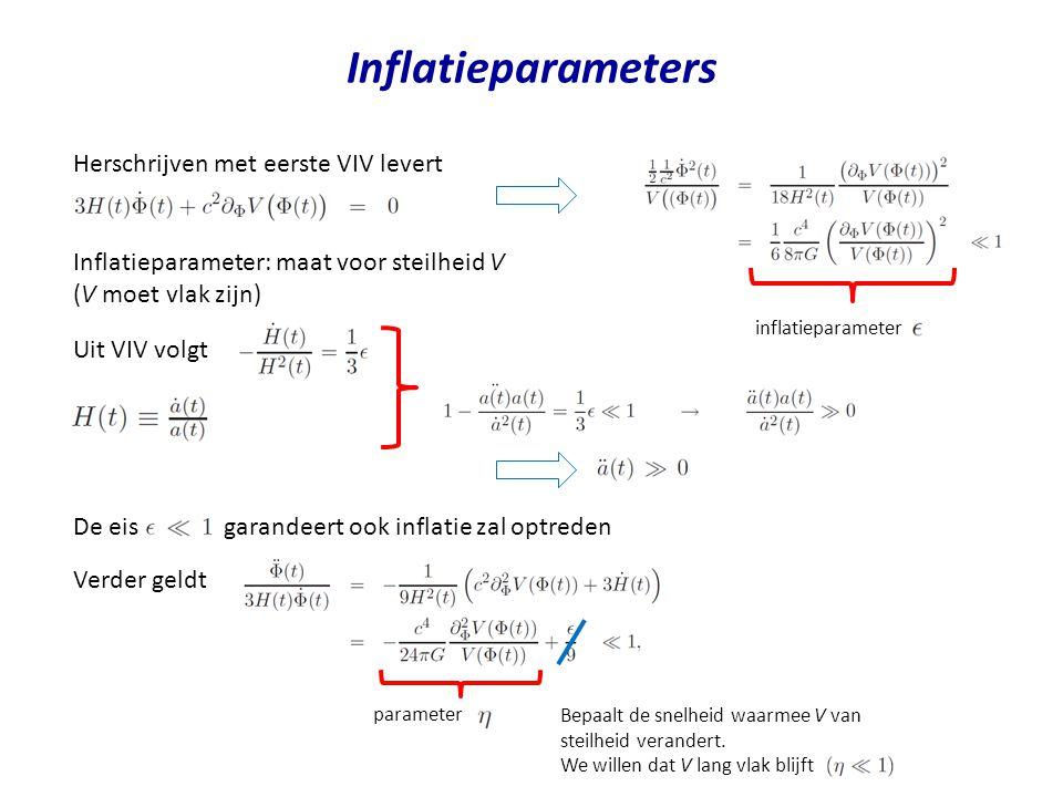 Inflatieparameters Herschrijven met eerste VIV levert Inflatieparameter: maat voor steilheid V (V moet vlak zijn) inflatieparameter Uit VIV volgt De e
