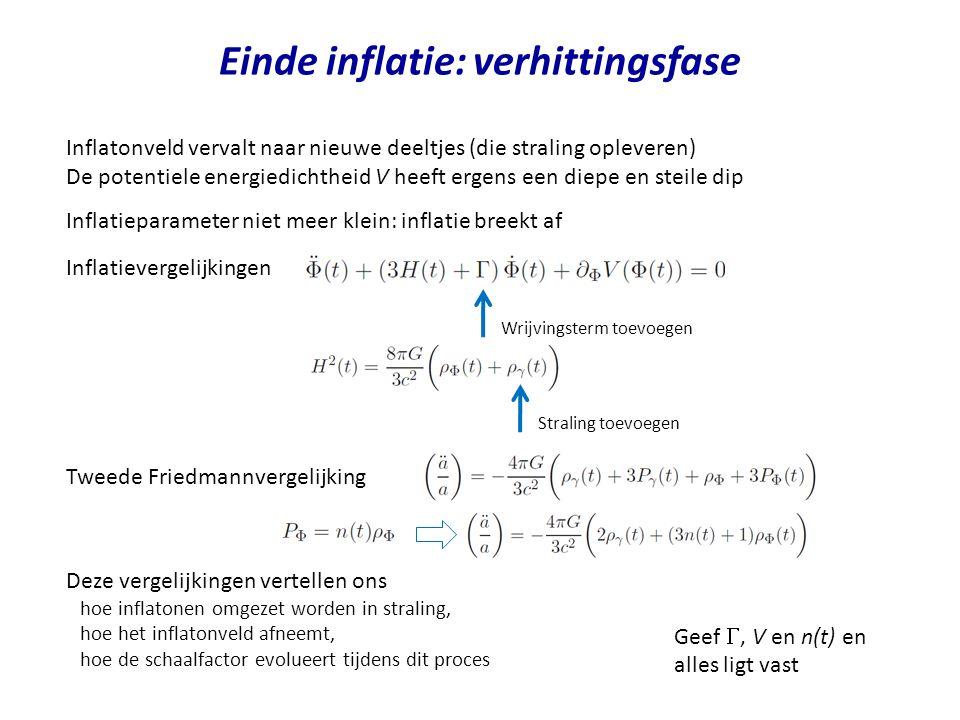 Einde inflatie: verhittingsfase Inflatonveld vervalt naar nieuwe deeltjes (die straling opleveren) De potentiele energiedichtheid V heeft ergens een d