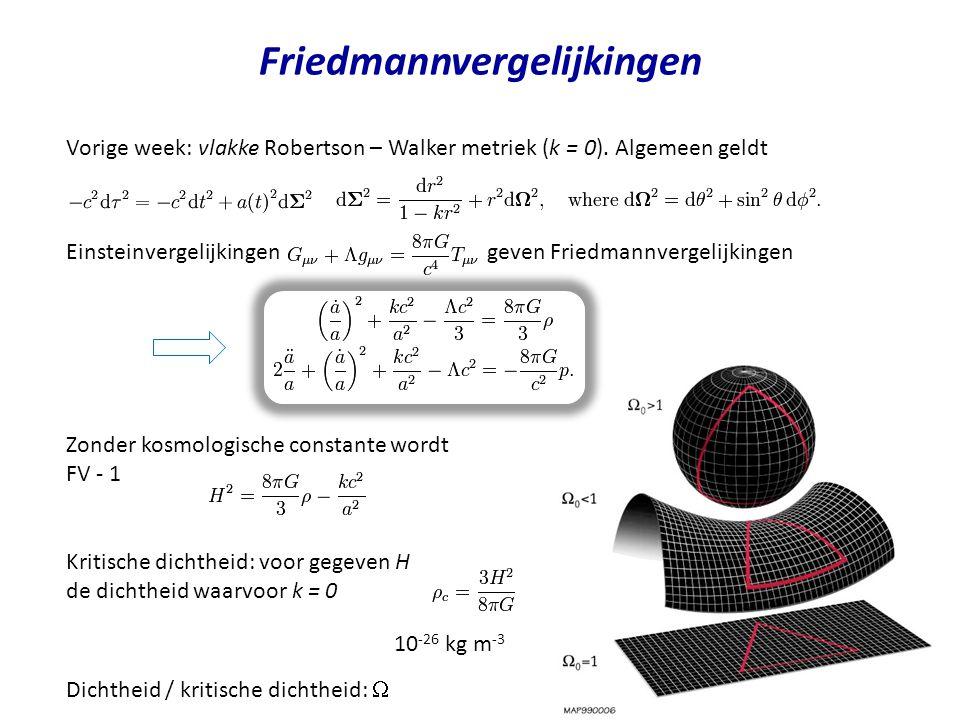 Friedmannvergelijkingen Vorige week: vlakke Robertson – Walker metriek (k = 0). Algemeen geldt Einsteinvergelijkingen geven Friedmannvergelijkingen Zo