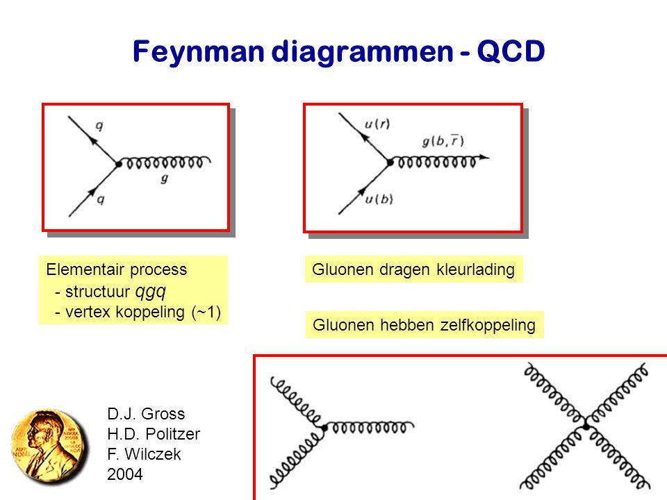 Najaar 2007Jo van den Brand12 Feynman diagrammen - QCD Elementair process - structuur qgq - vertex koppeling (~1) Gluonen dragen kleurlading Gluonen h