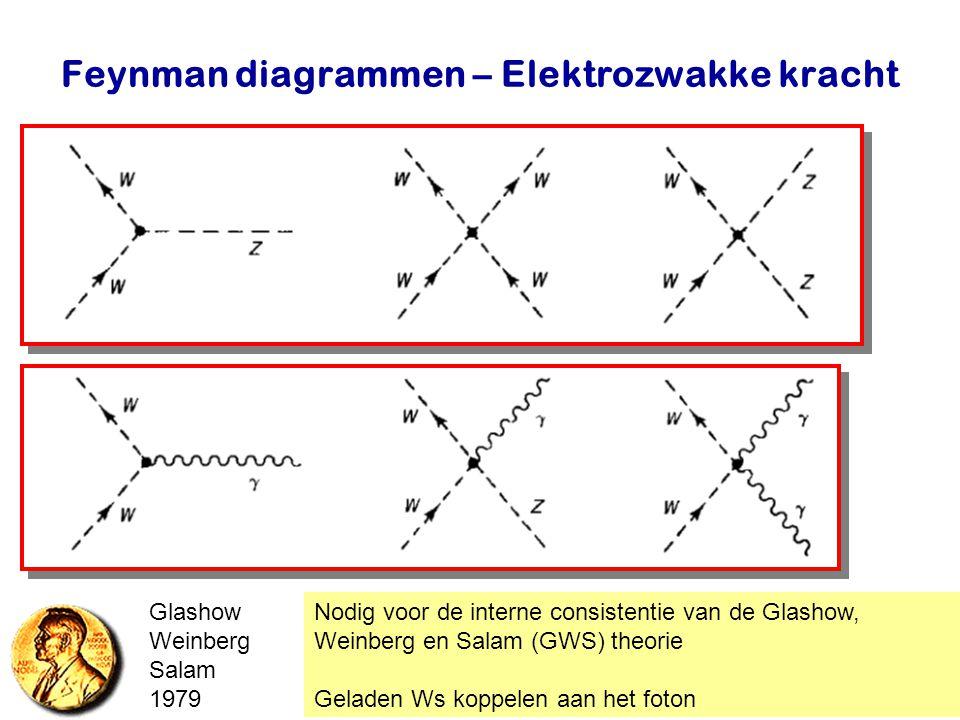 Najaar 2007Jo van den Brand15 Feynman diagrammen – Elektrozwakke kracht Nodig voor de interne consistentie van de Glashow, Weinberg en Salam (GWS) the