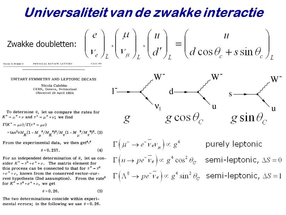 Najaar 2007Jo van den Brand20 Universaliteit van de zwakke interactie Zwakke doubletten: