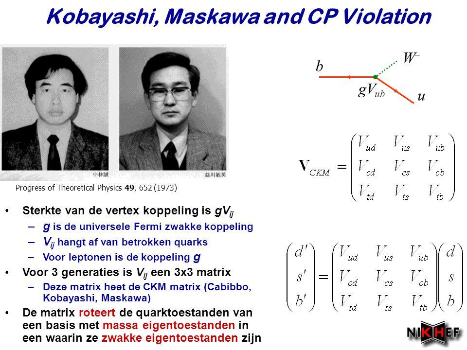 Najaar 2007Jo van den Brand Sterkte van de vertex koppeling is gV ij –g is de universele Fermi zwakke koppeling –V ij hangt af van betrokken quarks –V