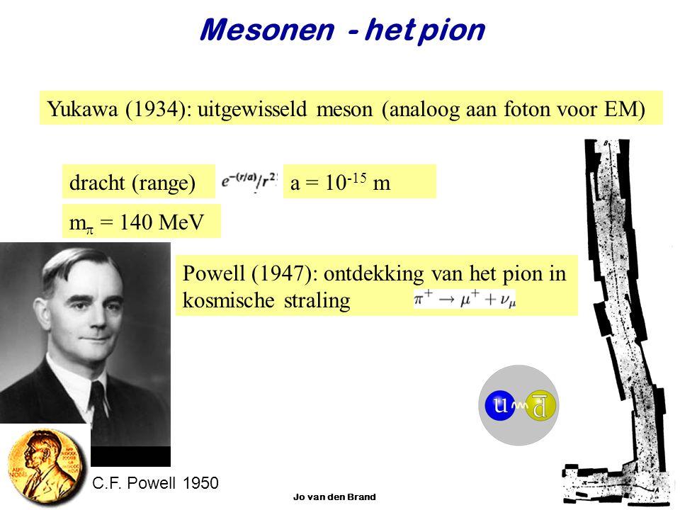 Najaar 2007Jo van den Brand26 Mesonen - het pion Yukawa (1934): uitgewisseld meson (analoog aan foton voor EM) dracht (range)a = 10 -15 m Powell (1947