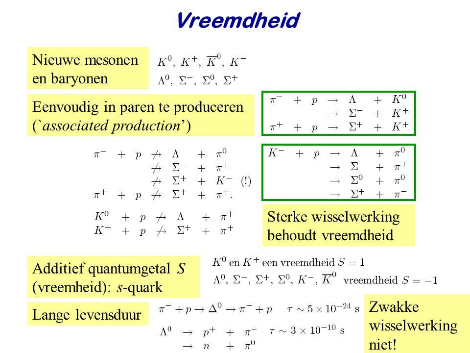 Najaar 2007Jo van den Brand30 Vreemdheid Nieuwe mesonen en baryonen Eenvoudig in paren te produceren (`associated production') Additief quantumgetal S