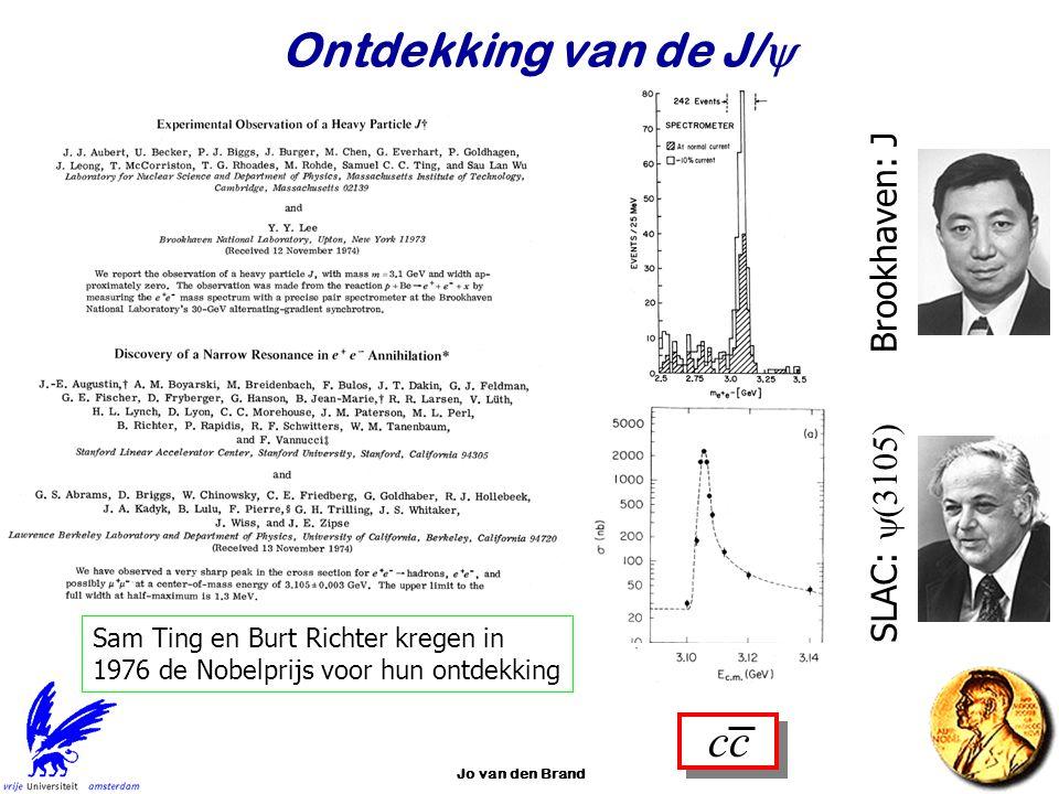 Jo van den Brand33 Ontdekking van de J/  Brookhaven: J SLAC:  Sam Ting en Burt Richter kregen in 1976 de Nobelprijs voor hun ontdekking cc