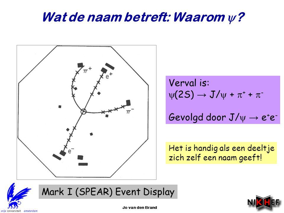 Jo van den Brand Wat de naam betreft: Waarom  ? Mark I (SPEAR) Event Display Verval is:  (2S) → J/  +  + +  - Gevolgd door J/  → e + e - Het is