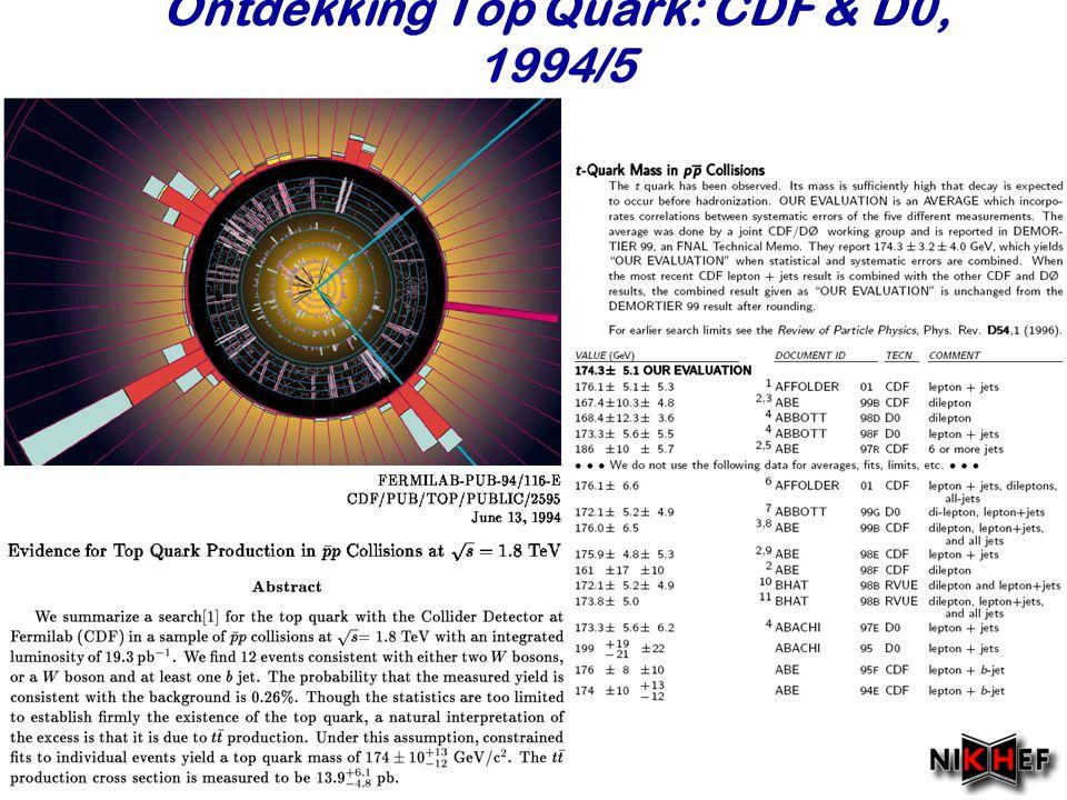 Najaar 2007 Ontdekking Top Quark: CDF & D0, 1994/5