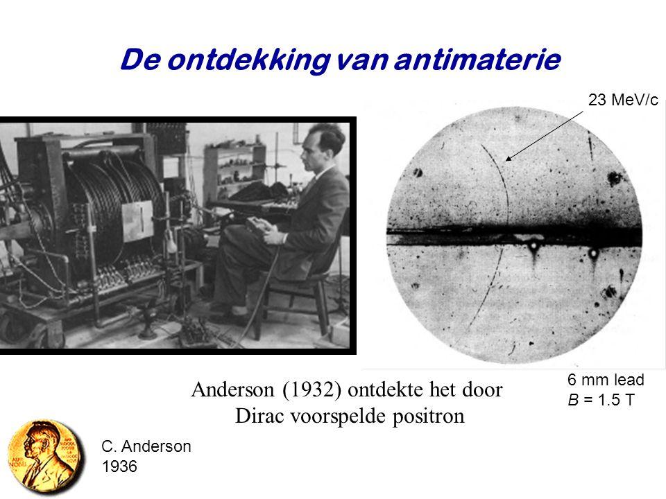 Najaar 2007Jo van den Brand43 De ontdekking van antimaterie Anderson (1932) ontdekte het door Dirac voorspelde positron 23 MeV/c 6 mm lead B = 1.5 T C
