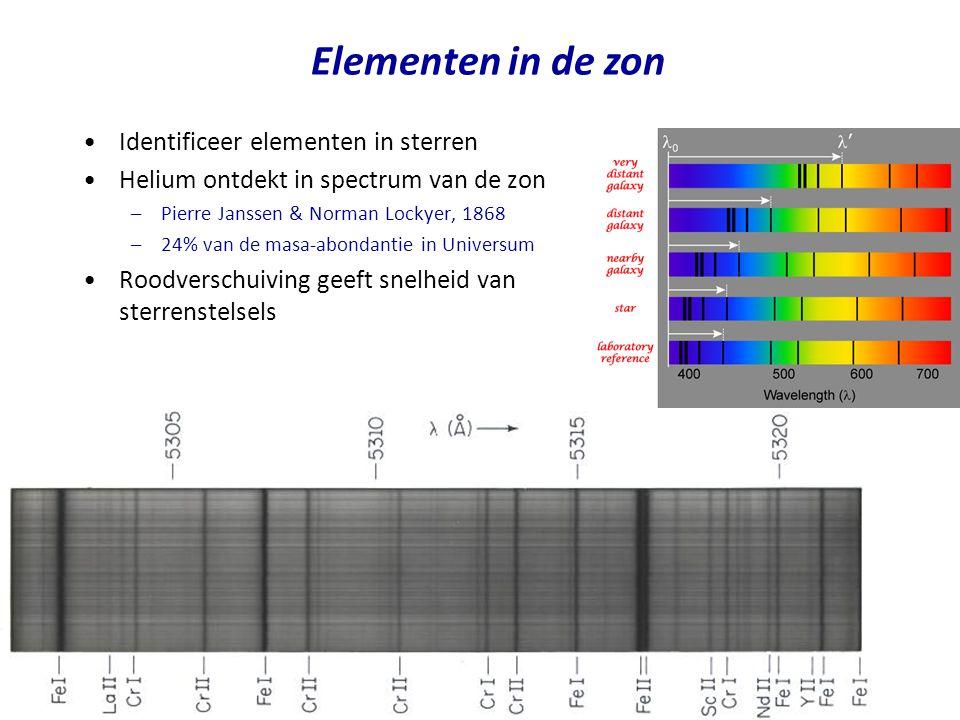 Elementen in de zon Identificeer elementen in sterren Helium ontdekt in spectrum van de zon –Pierre Janssen & Norman Lockyer, 1868 –24% van de masa-ab
