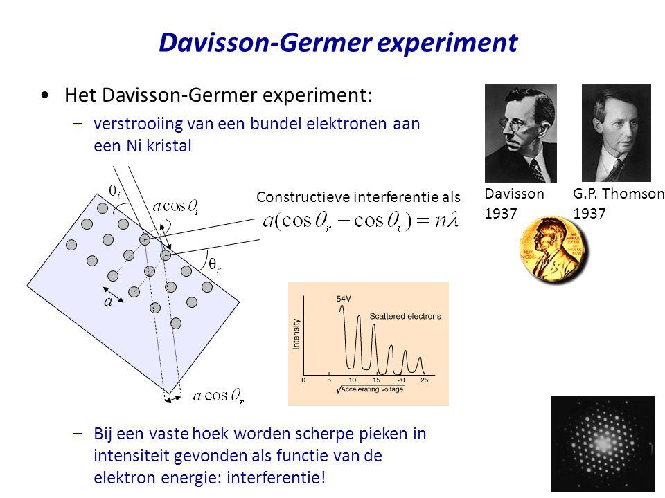 Davisson-Germer experiment Het Davisson-Germer experiment: –verstrooiing van een bundel elektronen aan een Ni kristal –Bij een vaste hoek worden scher