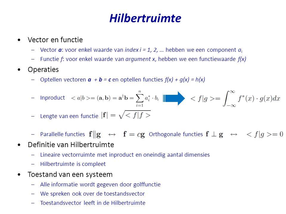 Hilbertruimte Vector en functie –Vector a: voor enkel waarde van index i = 1, 2, … hebben we een component a i –Functie f: voor enkel waarde van argum