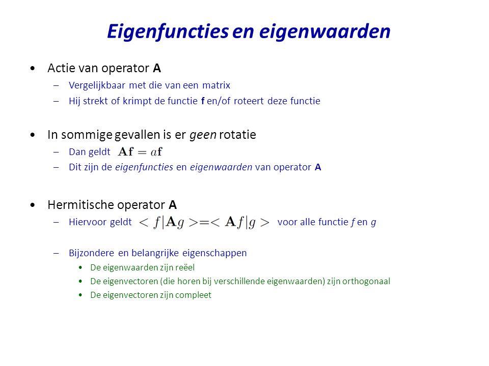Actie van operator A –Vergelijkbaar met die van een matrix –Hij strekt of krimpt de functie f en/of roteert deze functie In sommige gevallen is er gee