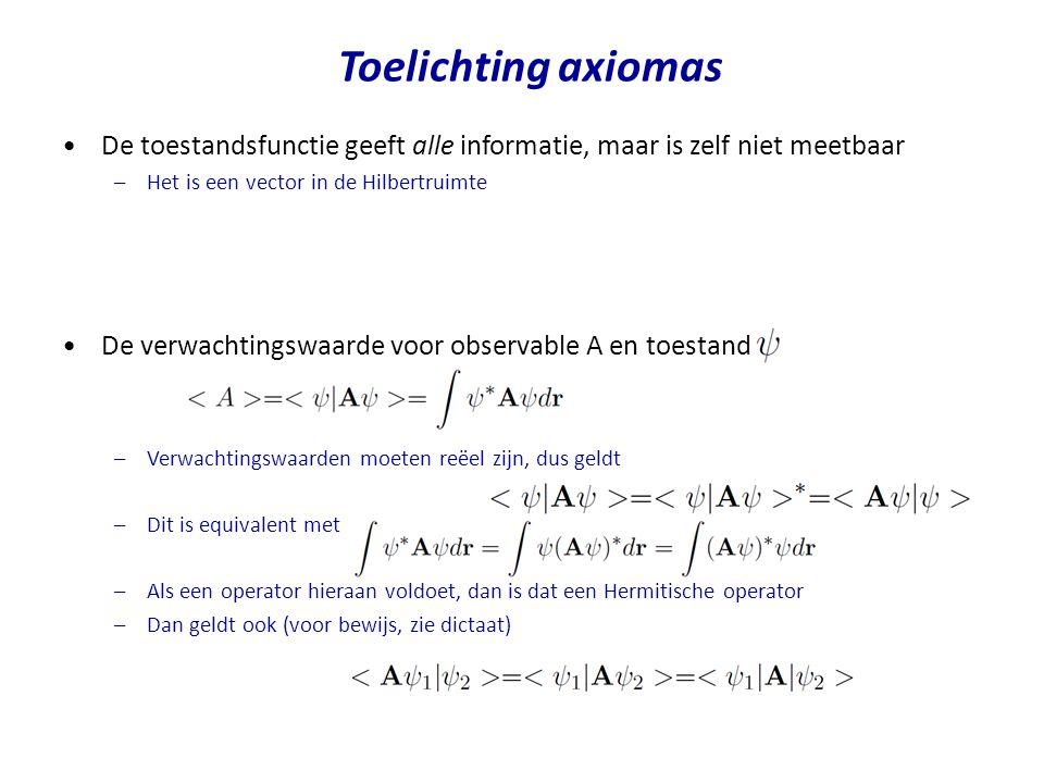 De toestandsfunctie geeft alle informatie, maar is zelf niet meetbaar –Het is een vector in de Hilbertruimte De verwachtingswaarde voor observable A e