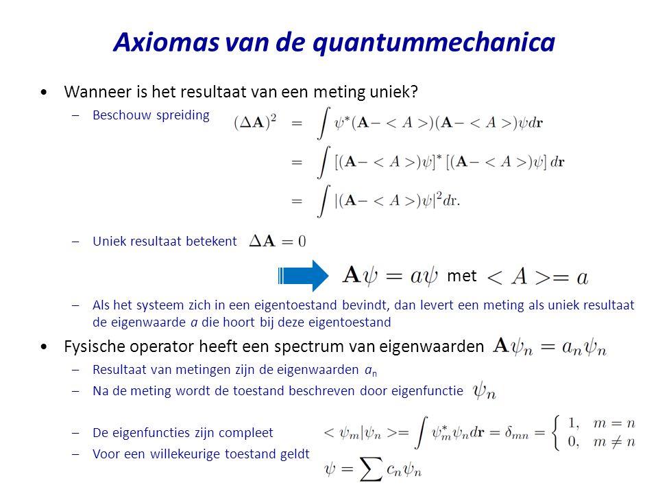 Axiomas van de quantummechanica Wanneer is het resultaat van een meting uniek? –Beschouw spreiding –Uniek resultaat betekent –Als het systeem zich in