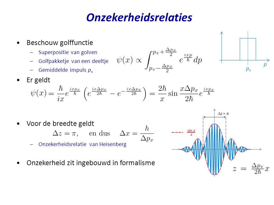 Onzekerheidsrelaties pxpx p Beschouw golffunctie –Superpositie van golven –Golfpakketje van een deeltje –Gemiddelde impuls p x Er geldt Voor de breedt