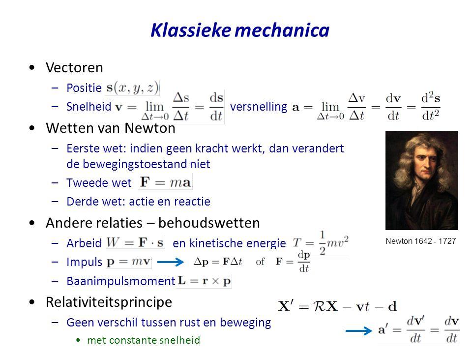 Vectoren –Positie –Snelheid versnelling Wetten van Newton –Eerste wet: indien geen kracht werkt, dan verandert de bewegingstoestand niet –Tweede wet –