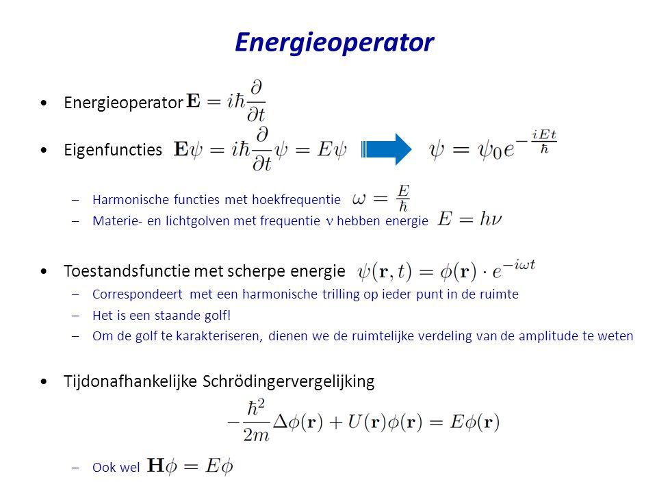 Energieoperator Eigenfuncties –Harmonische functies met hoekfrequentie –Materie- en lichtgolven met frequentie hebben energie Toestandsfunctie met sch
