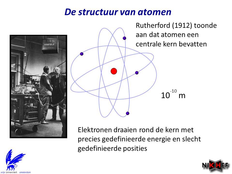 De structuur van atomen Rutherford (1912) toonde aan dat atomen een centrale kern bevatten Elektronen draaien rond de kern met precies gedefinieerde e