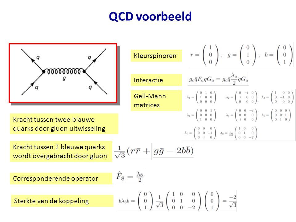 QCD voorbeeld Kracht tussen twee blauwe quarks door gluon uitwisseling Kracht tussen 2 blauwe quarks wordt overgebracht door gluon Corresponderende op