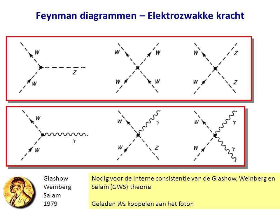 Feynman diagrammen – Elektrozwakke kracht Nodig voor de interne consistentie van de Glashow, Weinberg en Salam (GWS) theorie Geladen Ws koppelen aan h