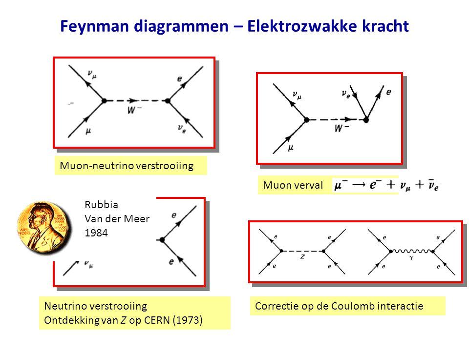 Feynman diagrammen – Elektrozwakke kracht Muon-neutrino verstrooiing Muon verval Neutrino verstrooiing Ontdekking van Z op CERN (1973) Correctie op de