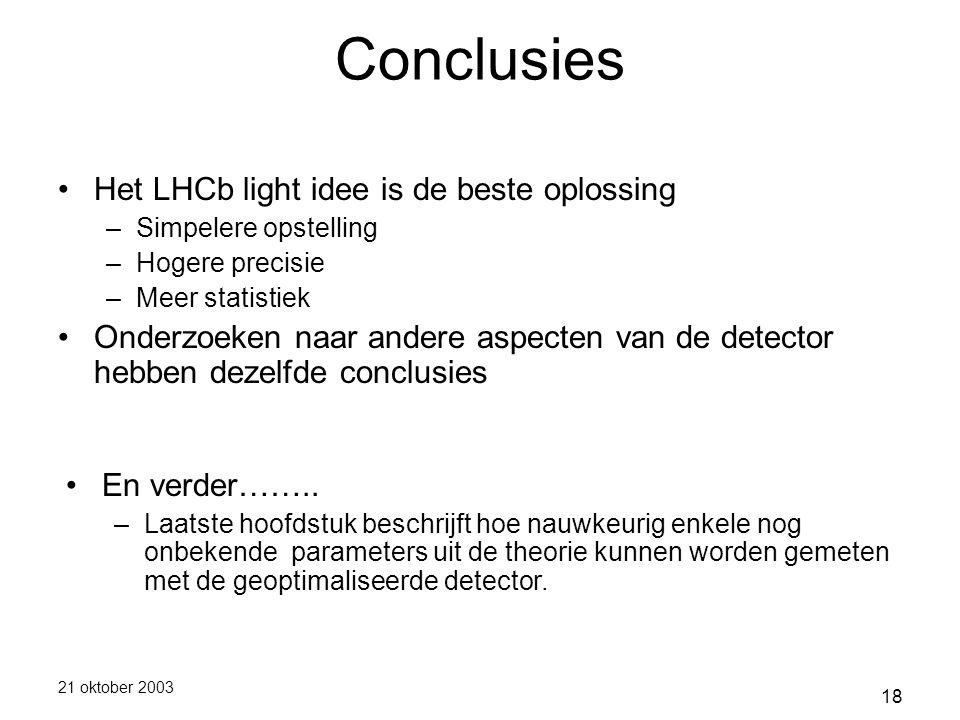 21 oktober 2003 18 Conclusies Het LHCb light idee is de beste oplossing –Simpelere opstelling –Hogere precisie –Meer statistiek Onderzoeken naar andere aspecten van de detector hebben dezelfde conclusies En verder……..