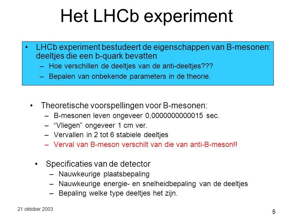21 oktober 2003 5 Het LHCb experiment Theoretische voorspellingen voor B-mesonen: –B-mesonen leven ongeveer 0,0000000000015 sec.