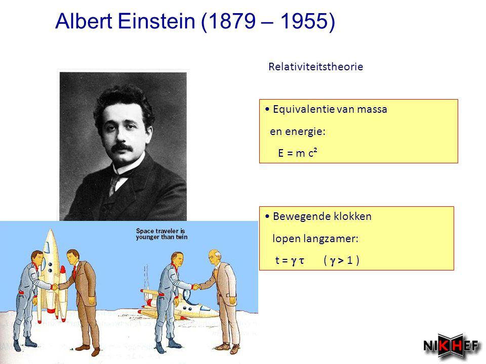 Equivalentie van massa en energie: E = m c² Bewegende klokken lopen langzamer: t =   (  > 1 ) Relativiteitstheorie Albert Einstein (1879 – 1955)