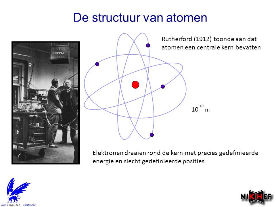 De structuur van atomen Rutherford (1912) toonde aan dat atomen een centrale kern bevatten Elektronen draaien rond de kern met precies gedefinieerde energie en slecht gedefinieerde posities 10 -10 m