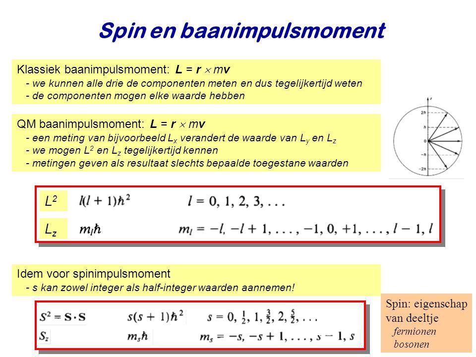 Najaar 2008Jo van den Brand10 Spin en baanimpulsmoment Klassiek baanimpulsmoment: L = r  mv - we kunnen alle drie de componenten meten en dus tegelijkertijd weten - de componenten mogen elke waarde hebben QM baanimpulsmoment: L = r  mv - een meting van bijvoorbeeld L x verandert de waarde van L y en L z - we mogen L 2 en L z tegelijkertijd kennen - metingen geven als resultaat slechts bepaalde toegestane waarden L2L2 LzLz Idem voor spinimpulsmoment - s kan zowel integer als half-integer waarden aannemen.
