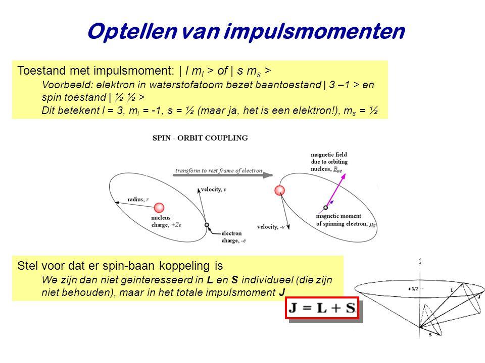 Najaar 2008Jo van den Brand12 Optellen van impulsmomenten Toestand met impulsmoment: | l m l > of | s m s > Voorbeeld: elektron in waterstofatoom bezet baantoestand | 3 –1 > en spin toestand | ½ ½ > Dit betekent l = 3, m l = -1, s = ½ (maar ja, het is een elektron!), m s = ½ Stel voor dat er spin-baan koppeling is We zijn dan niet geinteresseerd in L en S individueel (die zijn niet behouden), maar in het totale impulsmoment J