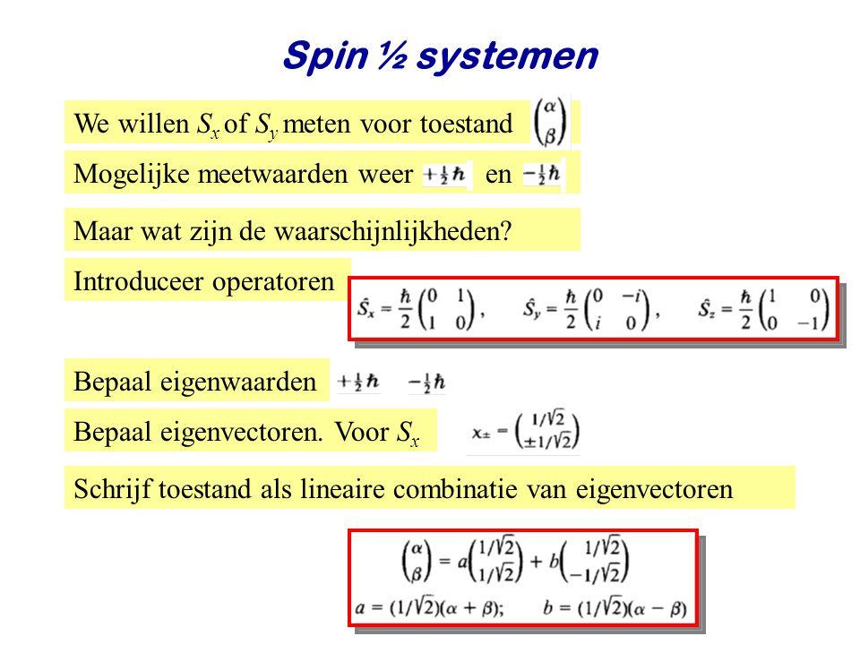 Najaar 2008Jo van den Brand20 Spin ½ systemen Maar wat zijn de waarschijnlijkheden.