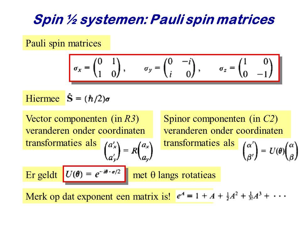 Najaar 2008Jo van den Brand21 Spin ½ systemen: Pauli spin matrices Pauli spin matrices Hiermee Vector componenten (in R3) veranderen onder coordinaten transformaties als Spinor componenten (in C2) veranderen onder coordinaten transformaties als Er geldt met  langs rotatieas Merk op dat exponent een matrix is!