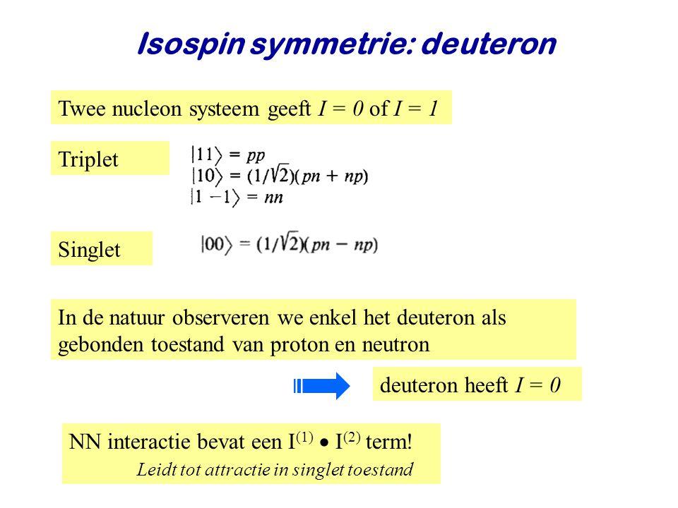 Najaar 2008Jo van den Brand24 Isospin symmetrie: deuteron Twee nucleon systeem geeft I = 0 of I = 1 In de natuur observeren we enkel het deuteron als gebonden toestand van proton en neutron NN interactie bevat een I (1)  I (2) term.