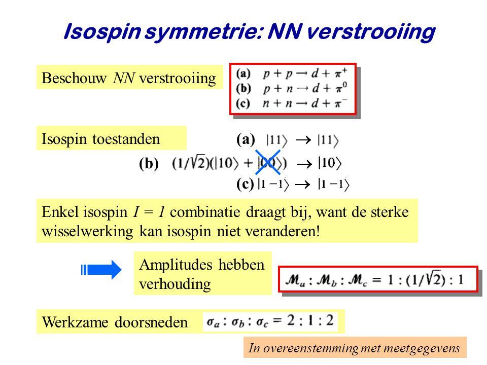 Najaar 2008Jo van den Brand25 Isospin symmetrie: NN verstrooiing Enkel isospin I = 1 combinatie draagt bij, want de sterke wisselwerking kan isospin niet veranderen.