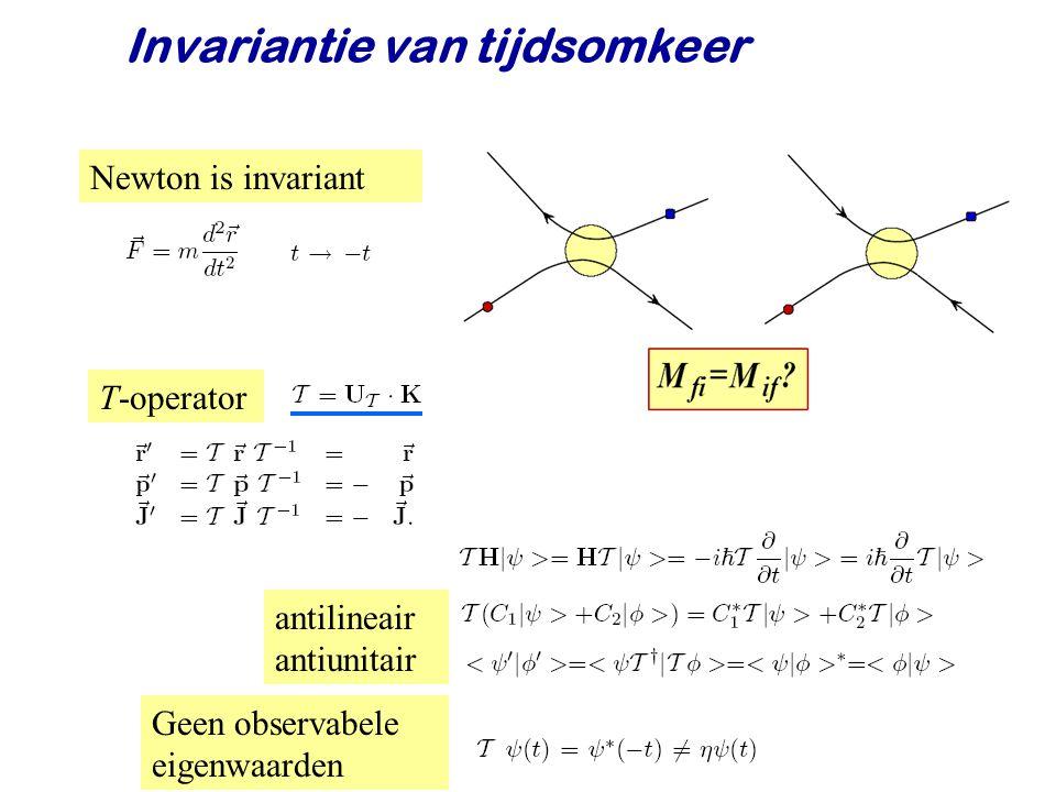 Najaar 2008Jo van den Brand36 Newton is invariant T-operator Geen observabele eigenwaarden antilineair antiunitair Invariantie van tijdsomkeer