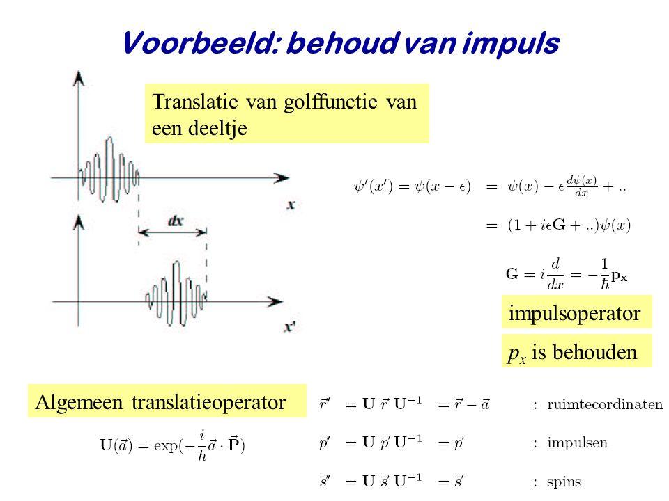 Najaar 2008Jo van den Brand7 Translatie van golffunctie van een deeltje impulsoperator p x is behouden Algemeen translatieoperator Voorbeeld: behoud van impuls