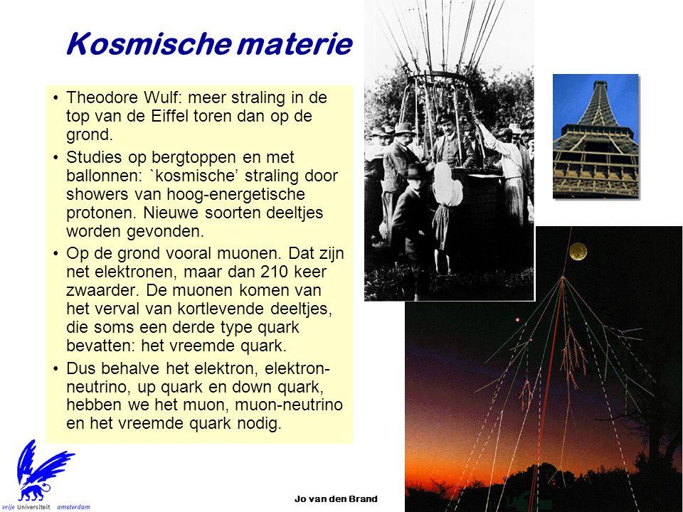 Jo van den Brand13 Kosmische materie Theodore Wulf: meer straling in de top van de Eiffel toren dan op de grond. Studies op bergtoppen en met ballonne