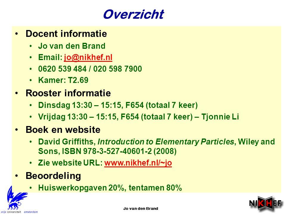 Jo van den Brand Overzicht Docent informatie Jo van den Brand Email: jo@nikhef.nljo@nikhef.nl 0620 539 484 / 020 598 7900 Kamer: T2.69 Rooster informa