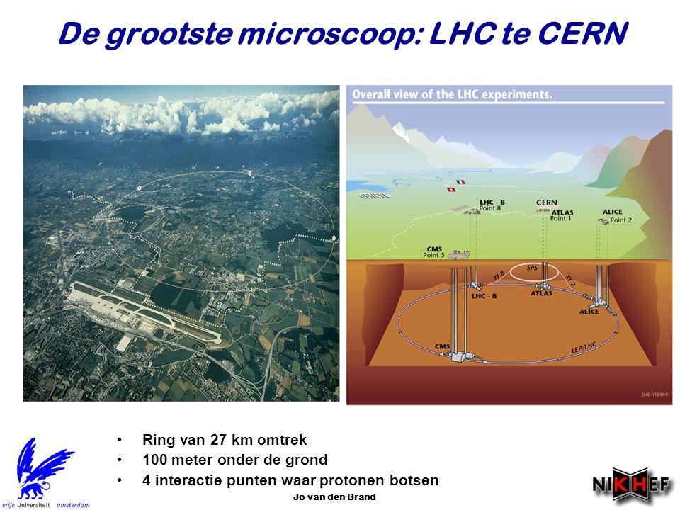 Jo van den Brand De grootste microscoop: LHC te CERN Ring van 27 km omtrek 100 meter onder de grond 4 interactie punten waar protonen botsen
