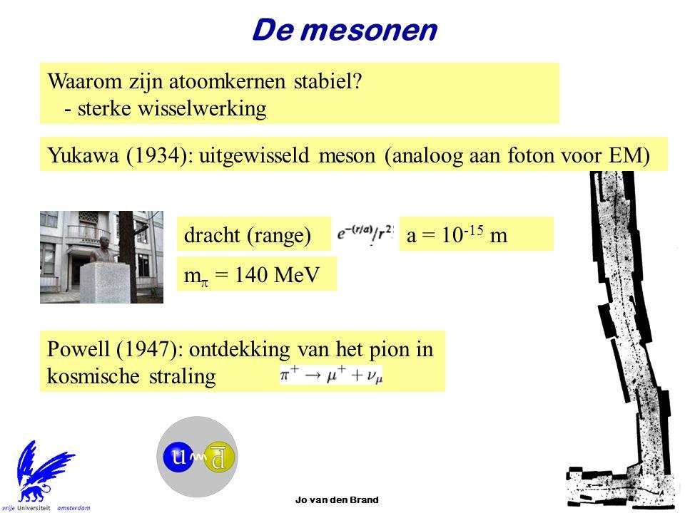 Jo van den Brand28 De mesonen Waarom zijn atoomkernen stabiel? - sterke wisselwerking Yukawa (1934): uitgewisseld meson (analoog aan foton voor EM) dr