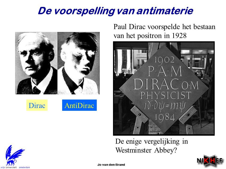 Jo van den Brand De voorspelling van antimaterie De enige vergelijking in Westminster Abbey? DiracAntiDirac Paul Dirac voorspelde het bestaan van het