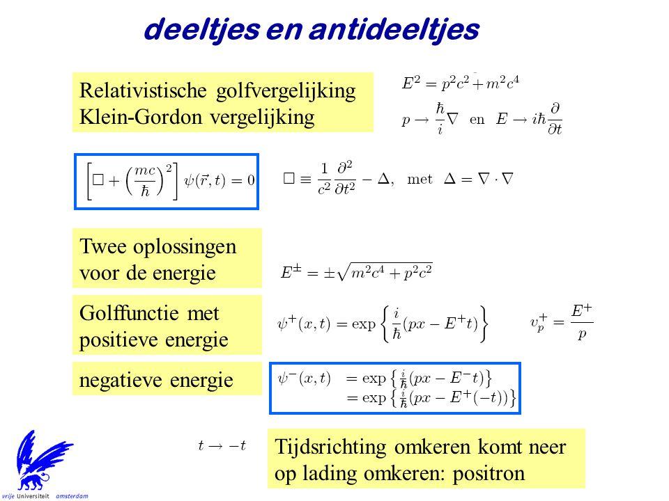 Jo van den Brand31 deeltjes en antideeltjes Relativistische golfvergelijking Klein-Gordon vergelijking Twee oplossingen voor de energie Golffunctie me