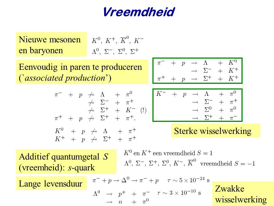 Najaar 2008Jo van den Brand47 Vreemdheid Nieuwe mesonen en baryonen Eenvoudig in paren te produceren (`associated production') Additief quantumgetal S