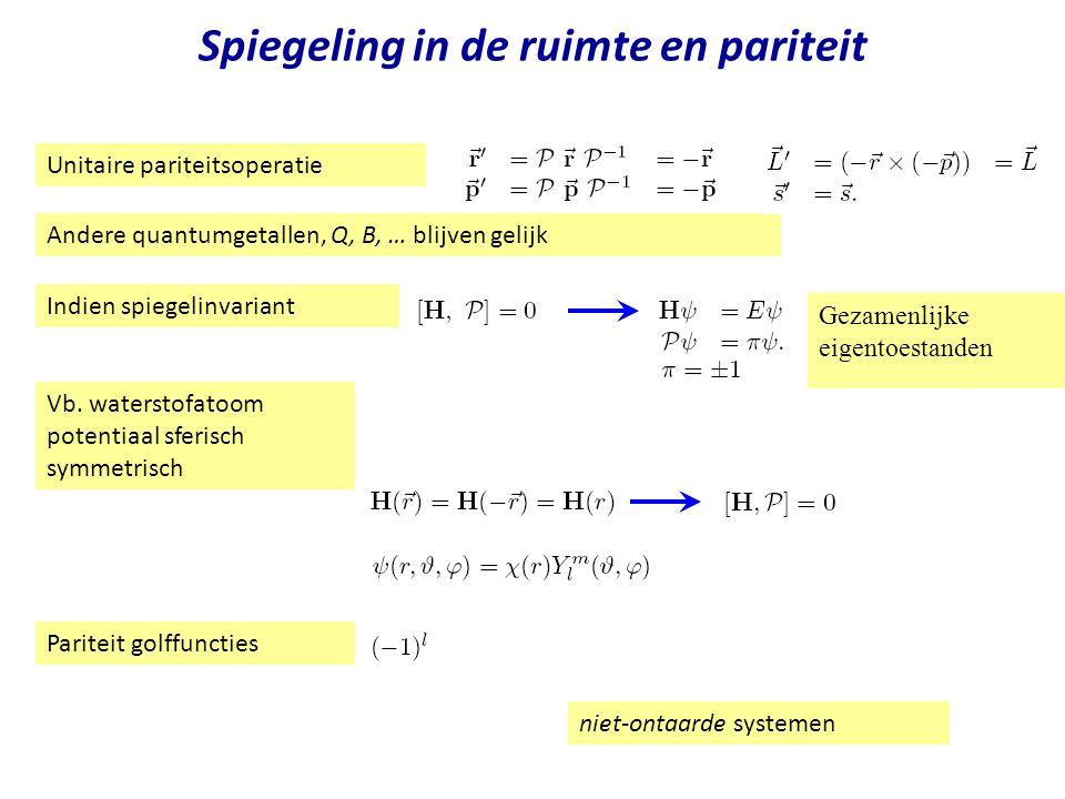 Najaar 2004Jo van den Brand24 Spiegeling in de ruimte en pariteit Unitaire pariteitsoperatie Andere quantumgetallen, Q, B, … blijven gelijk Gezamenlij