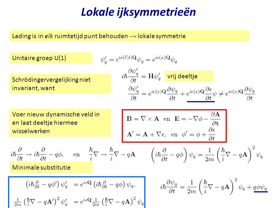 Najaar 2004Jo van den Brand8 Lokale ijksymmetrieën Unitaire groep U(1) Lading is in elk ruimtetijd punt behouden  lokale symmetrie Schrödingervergeli