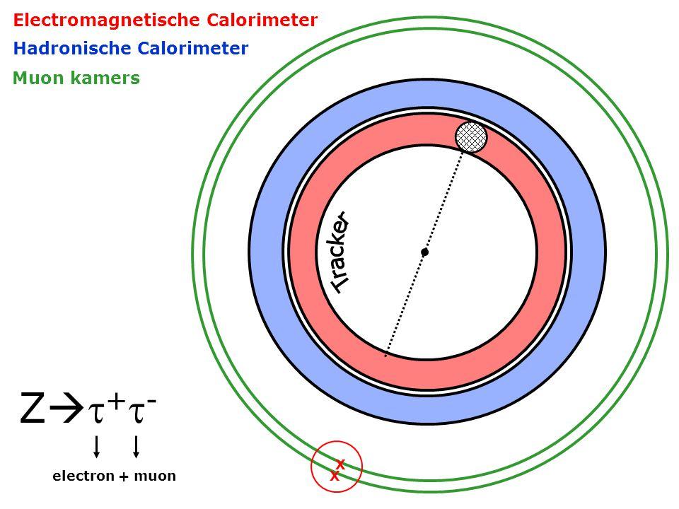 Z+-Z+- X X Electromagnetische Calorimeter Hadronische Calorimeter Muon kamers electron + muon