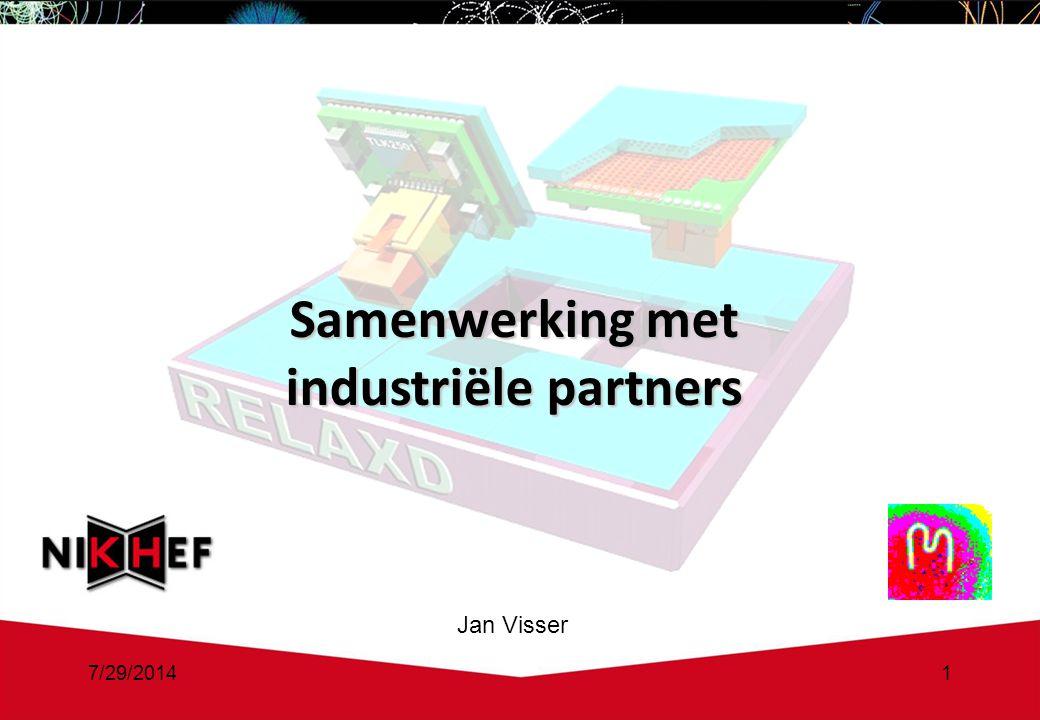 7/29/20141 Samenwerking met industriële partners Jan Visser